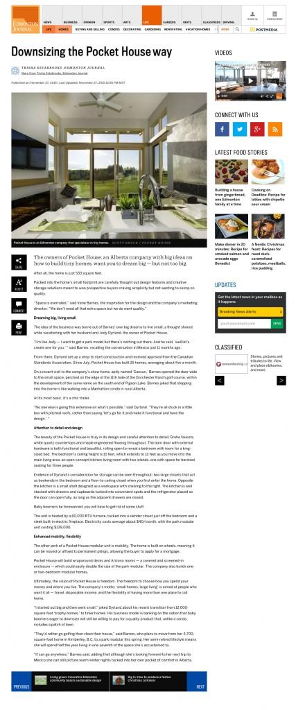 Pocket House Featured in Edmonton Journal